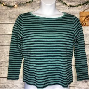 Talbots Teal and Blue Glitter Striped Long Sleeve